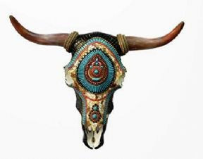 Western Mosaic Effect Bison Skull Wall Plaque Ornament Office Sculpture Art
